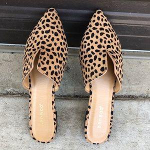 Leopard print slip on mules / flats sizes 7-10